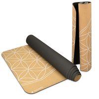 Yogamatte aus Kork rutschfeste Matte Yoga Sportmatte Fitnessmatte mit Tragegurt