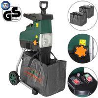 Gardebruk Elektrischer Leisehäcksler 2800W max. 44mm Aststärke 2x 60L Auffangbeutel Gartenhäcksler Walzenhäcksler Schredder Häcksler