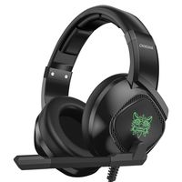 ONIKUMA K19 3,5-mm-Gaming-Headset über Ohr Kopfhörer Noise Cancelling E-Sport-Kopfhörer mit Mikrofon LED-Leuchten Lautstärkeregler Mute Mic für PC Laptop PS4-Smartphone【Schwarz】