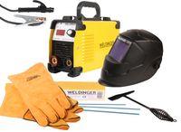 WELDINGER Elektroden Komplettset Schweißinverter E 181 eco, Automatik-Schweißhelm, Elektrodensortiment, Schlackehammer, Handschuhe