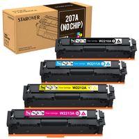4x 207 Toner ohne Chips kompatibel für HP 207A W2210A W2211A W2212A W2213A für HP Color Laserjet Pro MFP M283fdw M283fdn M282nw M255dw M255nw, Schwarz/Cyan/Gelb/Magenta
