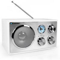 Blaupunkt RXN 180, Küchenradio mit Bluetooth, Aux In, UKW/ FM Radio, Retro Nostalgieradio, ausziehbare Teleskopantenne, Holzgehäuse, weiß