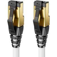 deleyCON 10m CAT8 Patchkabel Netzwerkkabel RJ45 LAN DSL Kabel Halogenfrei S/FTP Schirmung 2000MHz 40Gbit CAT.8 Ethernet Kabel RJ45 Stecker vergoldet