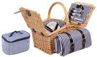Weiden - Picknickkorb für bis zu 4 Personen mit Decke und Kühltasche - Komplettsett