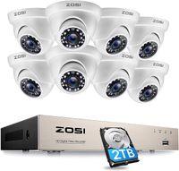 ZOSI Outdoor 1080P Überwachungskamera Set 8CH H.265+ DVR mit 8 2MP Dome Video Kamera System für Innen und Außen, 2TB Festplatte, 24M IR Nachtsicht