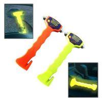 Notfallhammer für Autos Nothammer Gurtschneider Leuchtend Halterung 2IN1 Gelb