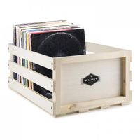 Nostalgie by auna - Schallplatten-Kiste, Platten-Box, Schallplatten-Box, Holzkiste, Multiplex-Holz, unbehandelt, ideal zum individualisieren mit Holzlasuren, für 75 LP, beige