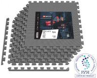 Hop-Sport Puzzlematte 6er Set - Unterlegmatte für Fitnessgeräte als Rutschfester Bodenschutz - Größe 60 x 60 x 1 cm -  Grau