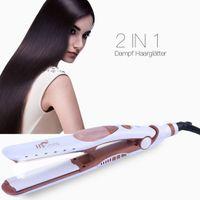Dampf Haarglätter, 2 in 1 Ionic Haarglätter mit 40mm Platte auch für Locken, Tragbare Glätteisen Steam Straightener mit Temperaturregelung/Auto-Abgeschaltet - 100V-240V EU Stecker