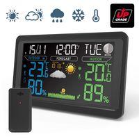Funk Wetterstation mit Außensensor  VA Farbdisplay Digital  Funkwetterstation  Innen Außen DCF  Multifunktionale Wettervorhersage Thermometer Hygrometer 3 Außenkanäle