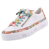 Rieker Damen Plateau-Sneaker Weiß/Bunt, Schuhgröße:EUR 38