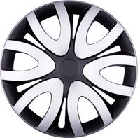 4x PREMIUM Radkappen Modell: Mika in Silber-Schwarz, Größe:15 Zoll