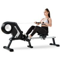 Merax Rudergerät  Klappbar Rudermaschine Fitnessgeräte mit 8 Magnetwiderstandsstufen und LCD-Display, leiser Magnetbremssystem und kugelgelagert Rudersitz, Max.Benutzergewicht 150kg, Grau