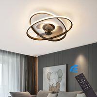 Deckenventilator mit LED Beleuchtung 3343  Deckenlampe schwarz Ø 50cm 96W mit Fernbedienung Lichtfarbe/Helligkeit einstellbar dimmbar LED Deckenleuchte fan light ceiling