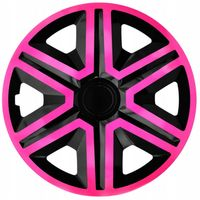 "NRM Action 4 x Universal Radzierblenden Radkappen Doublecolour Satz 4er Set Auto KFZ Zoll Pink-Schwarz, 16"""