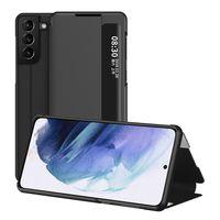 Samsung Galaxy S21 5G Hülle, LaimTop Klapphüllen mit Sichtfenster Smart View Leder Tasche mit Standfunktion Schutzhülle Schwarz