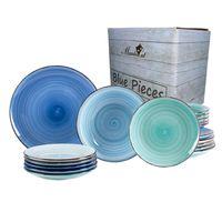 18tlg. Tellerset Blue Baita für 6 Personen in Blau-Tönen Essteller Suppenteller Kuchenteller