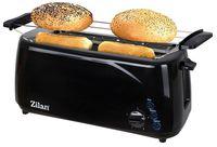 Zilan Toaster Langschlitz | 4 Scheiben Toastautomat | XXL Toaster | 1400 Watt | 5-Stufen Bräuneregler | Brötchenaufsatz | Auftau-Funktion | Krümmelschublade | Schwarz |
