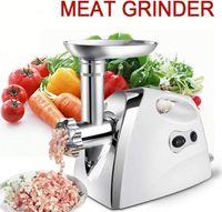 Elektrischer Fleischwolf   2800W Wurstmaschine Set Wurstfüller Fleisch Zerkleinerer  Zubehör für die Herstellung von Fleischwurstwürfeln 3 austauschbare Stahlklingen  (Weiß)