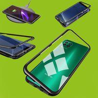 Für Huawei P40 Lite Magnet / Metall / Glas Case Bumper Transparent / Schwarz Tasche Hülle Neu