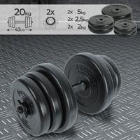 Physionics® Kurzhantel Set 20kg - inkl. 6 Gewichte aus Kunststoff, 1 Hantelstangen und 2 Sternverschlüssen aus Kunststoff, Griff gerändelt,  Ø 25 mm - Hantelstangen, Kurzhanteln