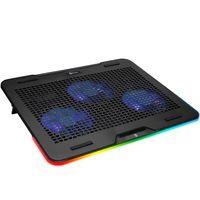 KLIM Aurora + Laptop-RGB-Kühler- 11 bis 17 Zoll + Laptop-Gaming-Kühlung + USB-Lüfter + Stabil und leise + Mac- und PS4-kompatibel
