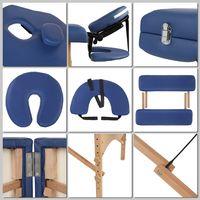 Melko Massage Betten Holz 3 Zonen Massageliege klappbar Premium-Kunstleder Massagetisch tragbar Therapieliege Blau