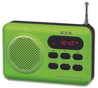 ICES IMPR-112 grün Kofferradio tragbar PLL FM Akku USB Micro SD 3,5 mm Buchse