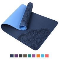 TOPLUS Pilatesmatte Gymnastikmatte,Yogamatte rutschfest aus TPE,Übungsmatte Sportmatte für Yoga,Pilates, Fitness- Dunkelblau-Hellblau(183 x 61 x 0,6cm )