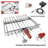 Mangal Schaschlik Spießdreher Edelstahl Sesam für 11 Spieße Akkumotor + Powerbank+USB