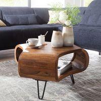 WOHNLING Couchtisch WL5.603 Sheesham massiv Holz 55 x 55 x 38 cm Ablage & Metallgestell   Retro Wohnzimmertisch Massivholz braun   Sofatisch modern Holztisch   Tisch mit Fach Wohnzimmer