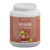 Protein Vegan 1kg - 84,1% pflanzliches Eiweiß - Nutri-Plus Shape & Shake 3k-Proteinpulver - Veganes Eiweißpulver ohne Laktose & Milcheiweiß - Haselnuss
