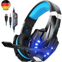 KOTION EACH Gaming Headset mit Mikrofon, LED Licht, 3,5 mm Surround Sound Kopfhörer,Geeignet für PS3 / PS4 / Xbox One / Xbox 360