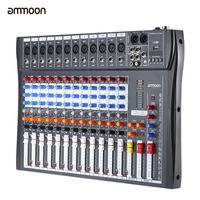 Ammoon 120 s-USB-12 Kanäle Mic Line Audio Mixer Mixing Konsole USB-XLR Input 3-Band EQ, 48V Phantom Power mit Netzteil