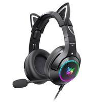 ONIKUMA K9 3,5 mm kabelgebundenes Gaming-Headset Abnehmbare Cat Ears-Kopfhoerer Rauschunterdrueckung E-Sports-Kopfhoerer mit Mikrofon RGB-LED-Licht Lautstaerkeregelung Stummschaltmikrofon fuer PS4-PC-Laptop-Smartphone
