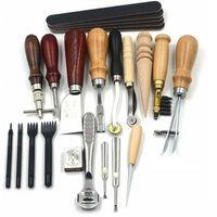 WISFOR 18tlg Leder Werkzeug DIY Ledernadeln Lederhobel Nähen Locher Schnitzen Stitching Set