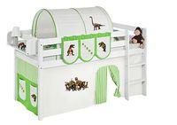 Lilokids Spielbett JELLE Dinos Grün Beige - Hochbett - weiß - mit Vorhang, Maße: 208 cm x 113 cm x 98 cm; JELLE2054KW-DINOS-GRUEN