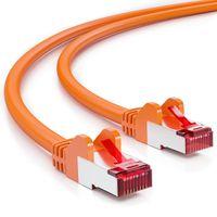 deleyCON 20m CAT6 Patchkabel S/FTP PIMF Schirmung CAT-6 RJ45 Netzwerkkabel Ethernetkabel LAN DSL Switch Router Modem Access Point Patchfelder - Orange