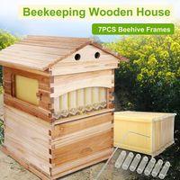 Triclicks Imkerei Bienenstockhaus Auto Flow Bienenstockboxen  aus Holz mit 7 Stk. Automatische Wooden Bienenstockrahmen und stabiles Bodenbrett Naturholz Komplettes Honigbienenstock-Kit Brut / Super-Box für Imker Anfänger