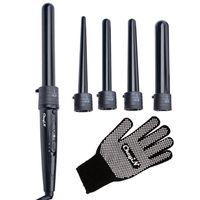 CkeyiN Multifunktions Austauschbare Lockenwickler Kit, 5 in 1 mit einem Handschuh, Schwarz  Keramikbeschichtung Temperaturregelung