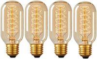 Edison Glühbirne, E27 Vintage Globe Glühlampe 40W 400LM Retro Birne  Filament Warmweiß Dekorative Glühbirne Ideal für Nostalgie und Antike Beleuchtung -4 Stück