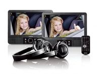 Lenco Portabler DVD-Player (9 Zoll) MES-415, Doppelbildschirm, USB, SD/MMC, Kopfhörer, Fernbedienung, Farbe: Schwarz