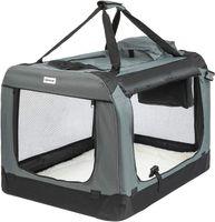 ONVAYA® Faltbare Transportbox für Hunde & Katzen | L | Faltbare Hundebox oder Katzenbox für Auto & Zuhause | Farbe grau schwarz