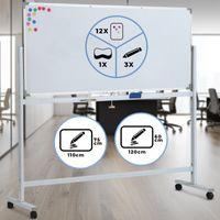 Jago® Whiteboard Mobiles - Weiß, 120x60cm, Magnetisch, Beschreibbar, Drehrbar, Rollbar, Set inkl. Marker, Schwamm, Alurahmen, Stiftablage - Magnettafel, Magnetwand, Magnetboard, Stativdrehtafel