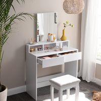 VASAGLE Schminktisch mit Spiegel und 2 Schubladen| Frisiertisch Kosmetiktisch mit 3 offenen Fächern Frisierkommode modern weiß RDT113W01