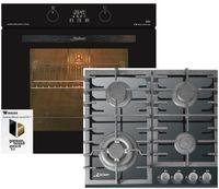 Kaiser Küchengeräte Gasherd-Set EH 6361 S + KCG 6383, Einbau-Backofen 60cm in Schwarz /Elektro Backofen/Gas-Kochfeld 60 cm/Autark/Drehspieß/Grill/Heißluft/Selbstreinigung/Erdgas/Propangas