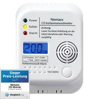 Nemaxx CO Melder, Kohlenmonoxidmelder, Kohlenmonoxid Warnmelder nach DIN EN50291