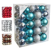 Weihnachtskugeln Mix Kunststoff, 50er Set, Farbe:Soft Blue MIx ( blau hellblau / gl.-matt )