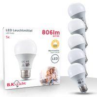 LED Glühbirne 5er Set E27 A60 Leuchtmittel  9 Watt 806 Lumen Lampe Birne 2700 Kelvin IP20 B.K.Licht