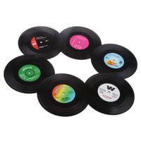 6pcs Retro Vinyl Rockabilly Schallplatten Glasuntersetzer Schalen Matte Wärmeisolierung Anti Gleitende für Tischschoner